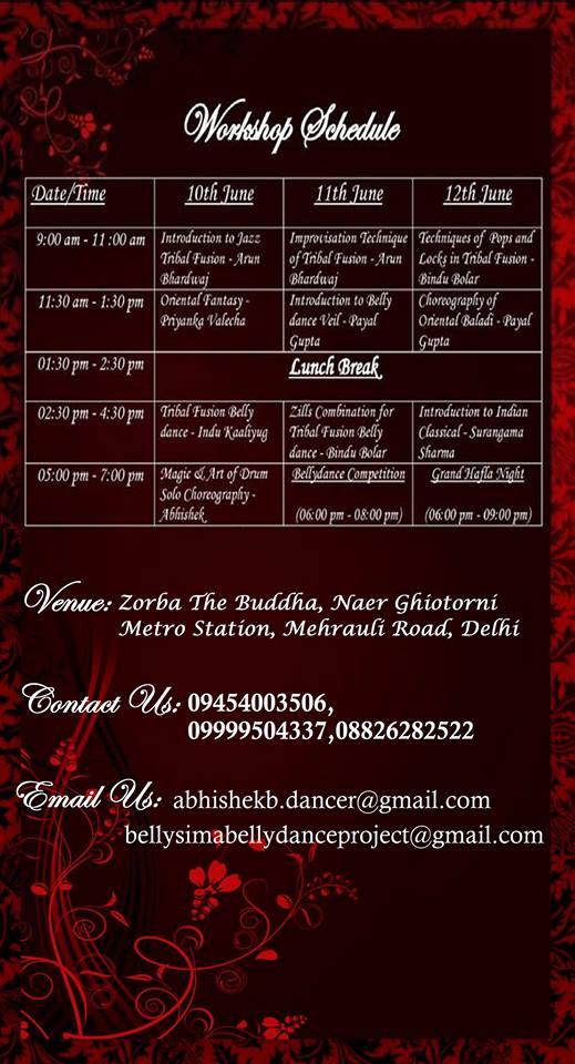 Dance With Me India - Delhi Event - BellySima Bellydance Project 2016 - Workshop Schedule