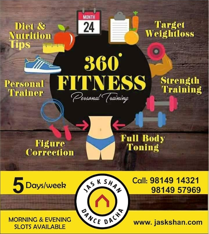 Best Nutrition Tips Full Body Fitness Training Weight Loss Strength Gain Figure Shaping in Chandigarh by Jas K Shan Dance Dacha