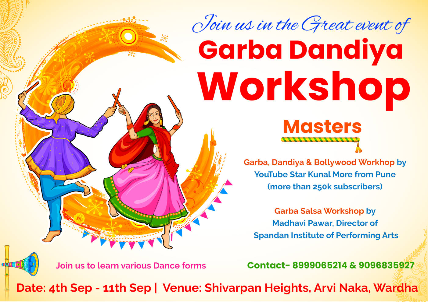 Wardha Garba Dandiya Workshop Madhavi Kunal Sep 2018