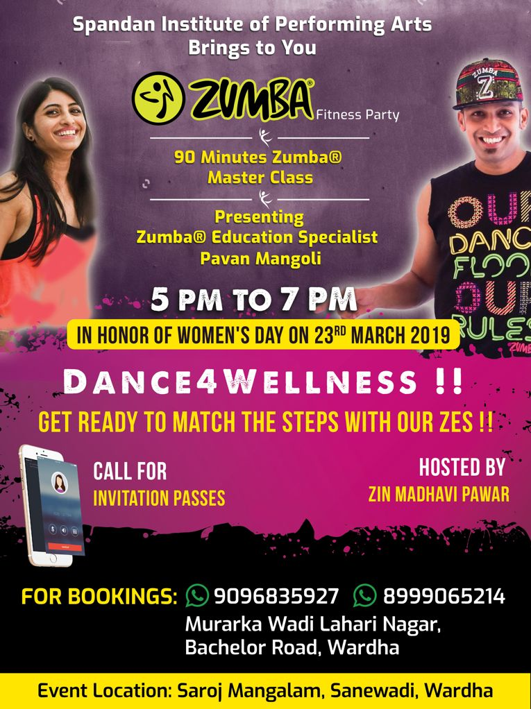 Wardha ZIN Madhavi Pawar Spandan Institute ZES Pavan Mangoli Dance4Wellness Zumba Fitness Party In Honor of Womens Day 23 March 2019