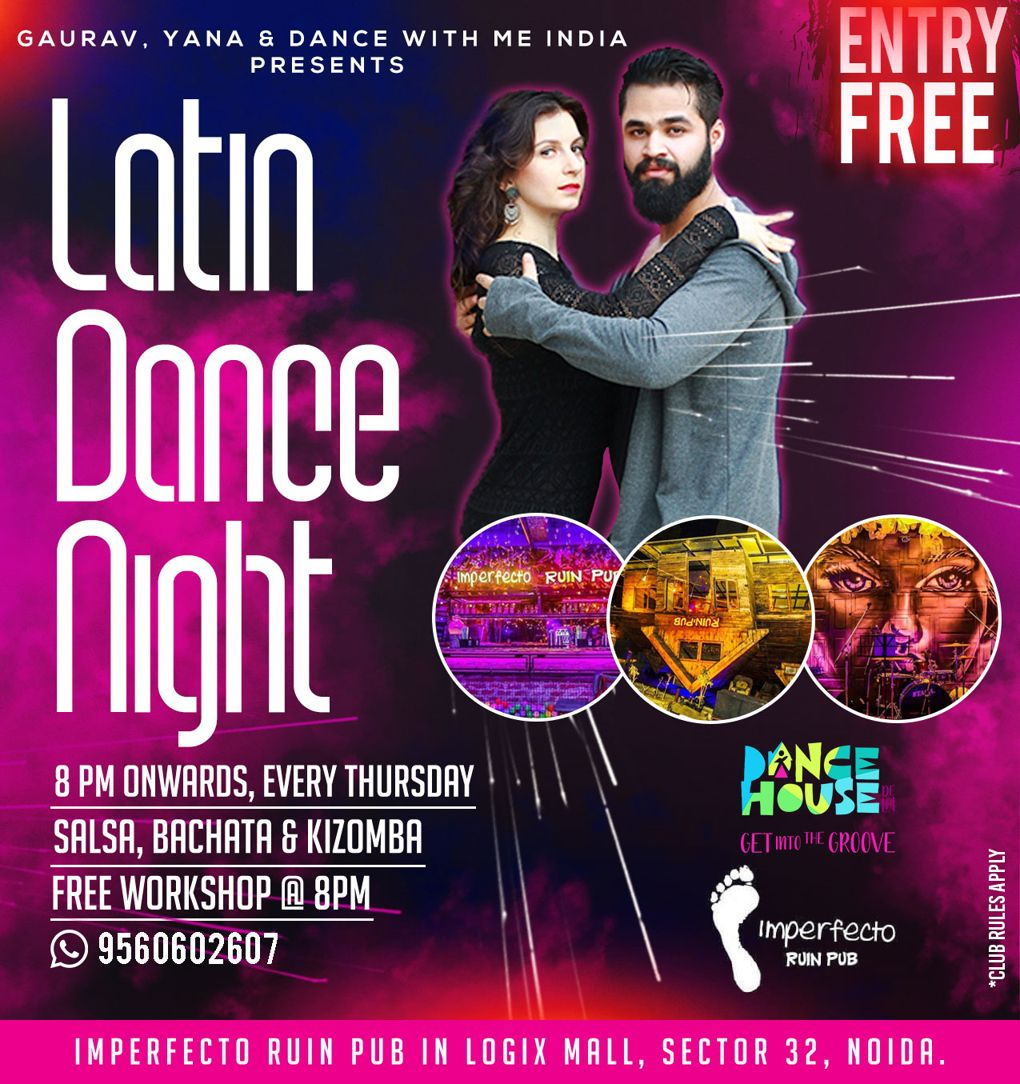 Latin Night at Imperfecto Logix Mall Sector 32 Noida by Gaurav Yana and Dance With Me India